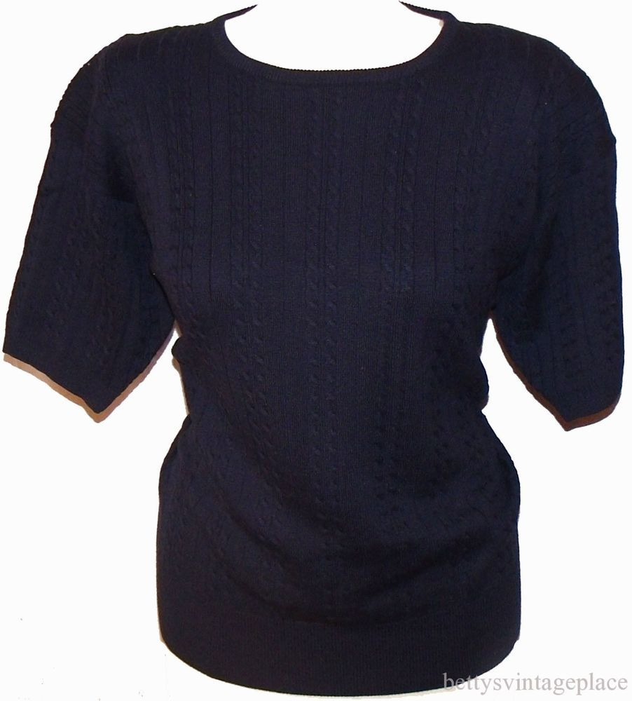 Size Large CAREER ESSENTIALS Cable Knit Navy Dark Blue Sweater ...