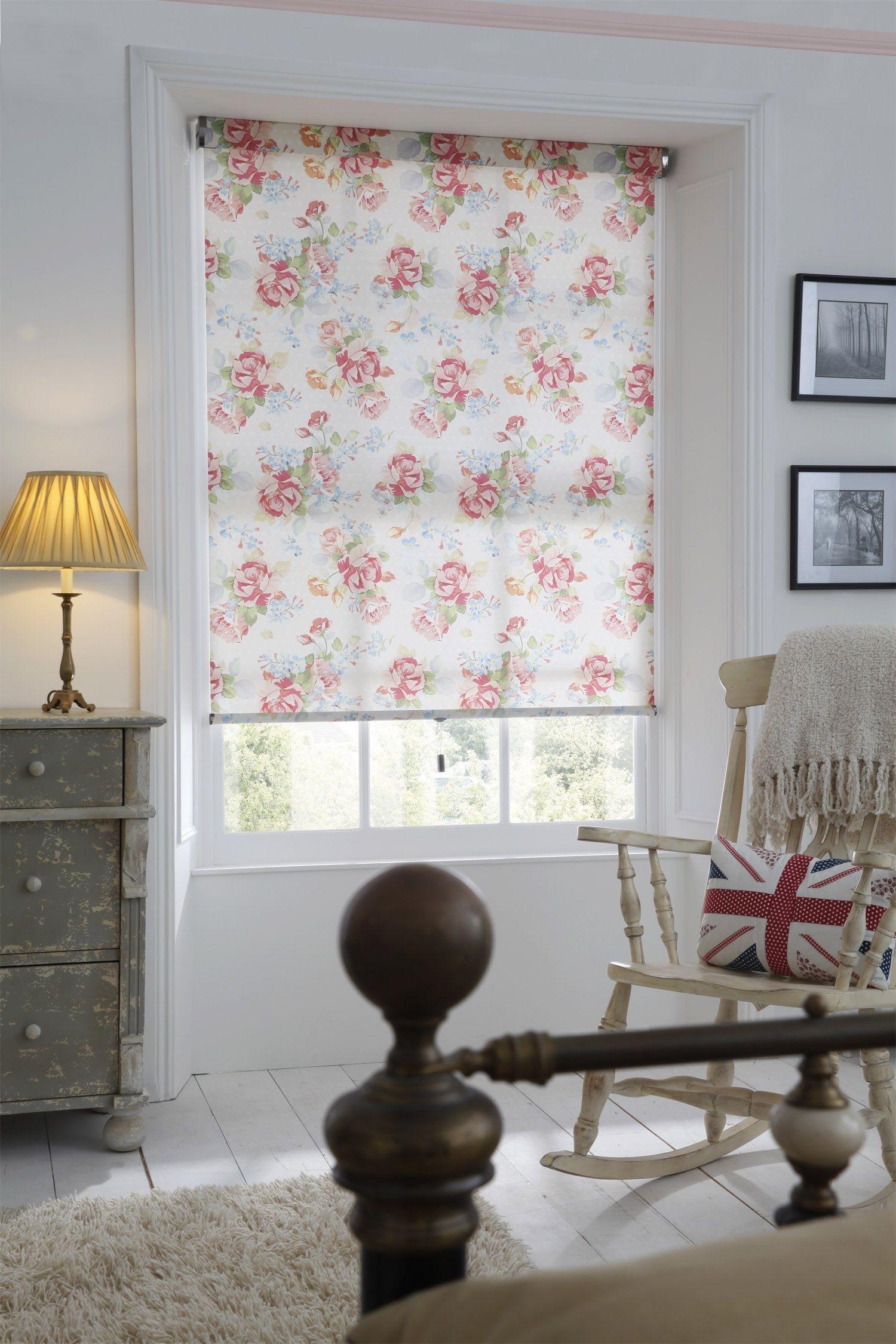 Floral roller blind from apollo blinds roller blinds bedroom