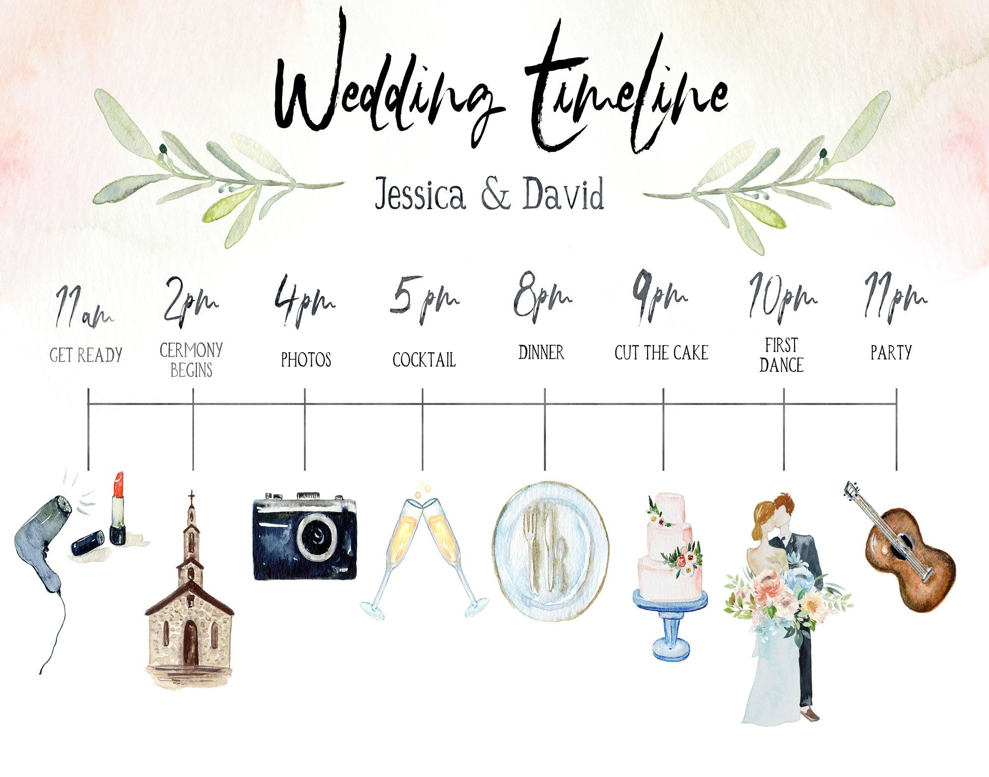 Watercolor Wedding Timeline