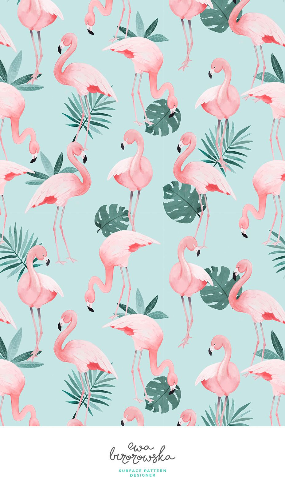 Flamingo - textile surface pattern design with flamingos on mint background with some tropical jungle palm leaves. #tropicalpattern