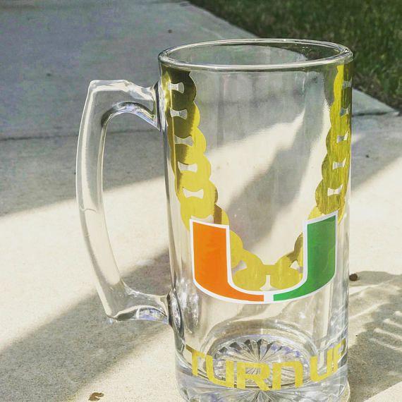 Custom University Of Miami Turnover Chain Beer Mug Mug Made Of - Custom vinyl decals miami