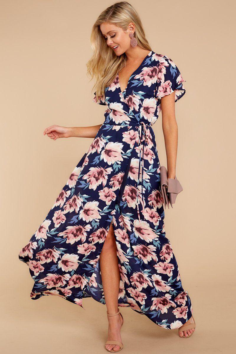 6833dbf394d Gorgeous Blue Floral Print Maxi Dress - Trendy Wrap Dress - Maxi - $49 –  Red Dress Boutique