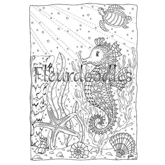 Coloring page underwater, sea, ocean, printable instant download ...
