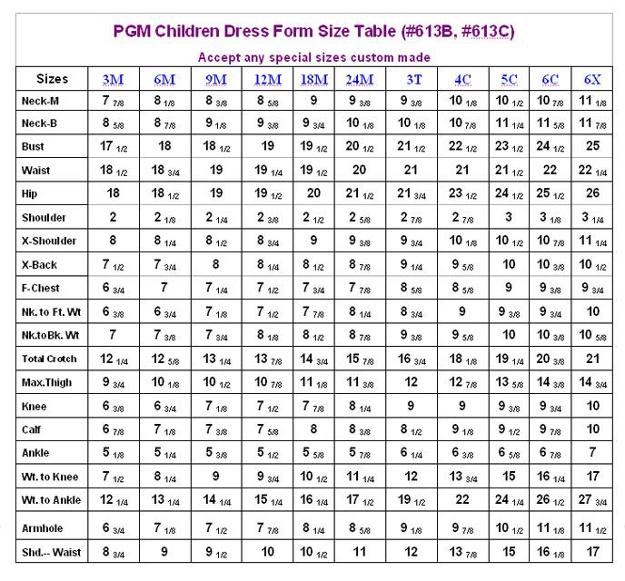 Pgm Children Fullbody Dress Form Size Table Jpg 688 640 Size Chart For Kids Baby Clothes Size Chart Sewing Measurements