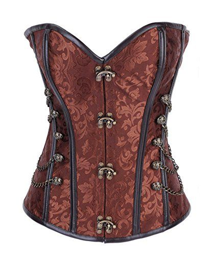 Brown Brocade Brown Real Leather Over bust Corset Steampunk Steel Bones Lace up