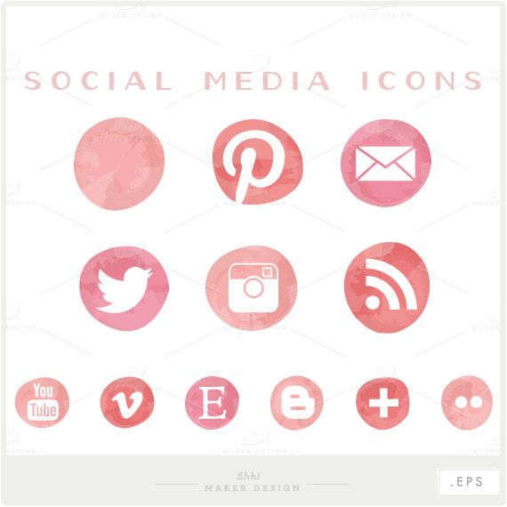 Social Media Icons Vector Files For Blogs Websites Etsy Social Media Icons Vector Social Media Icons Media Icon