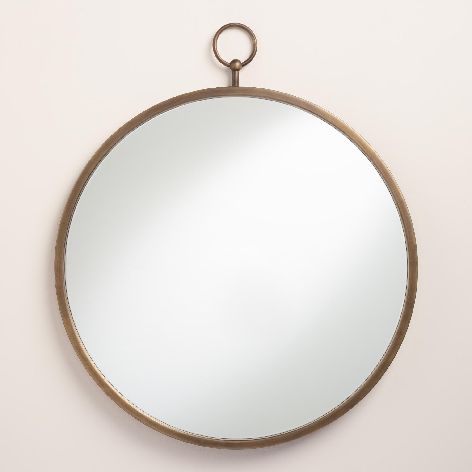 Brass metal loop mirror round mirrors antique brass and for Vintage mirror