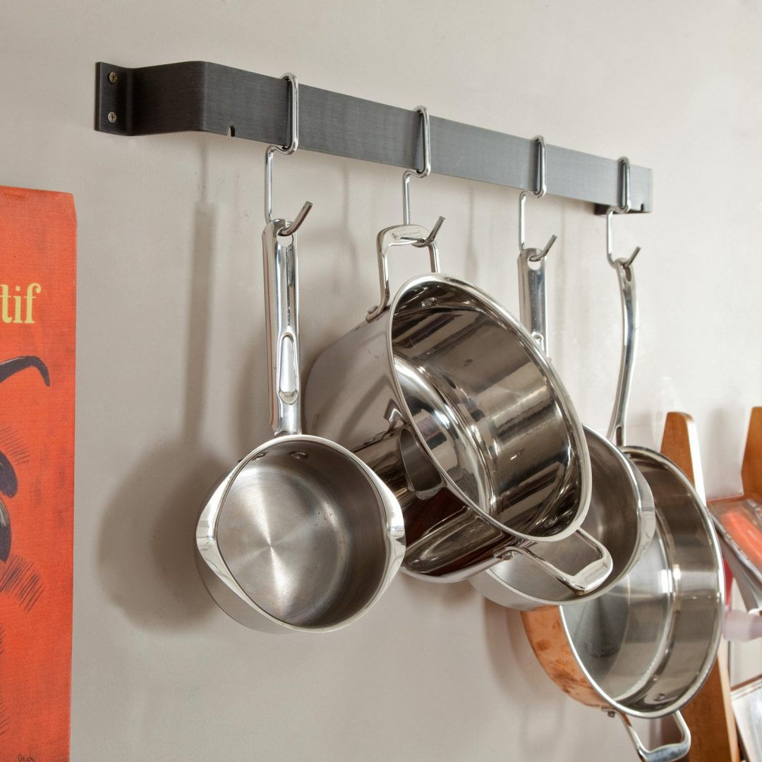 10 Wall Mounted Pot And Pan Storage Ideas That Rock Pot Rack Kitchen Wall Storage Pot Hanger