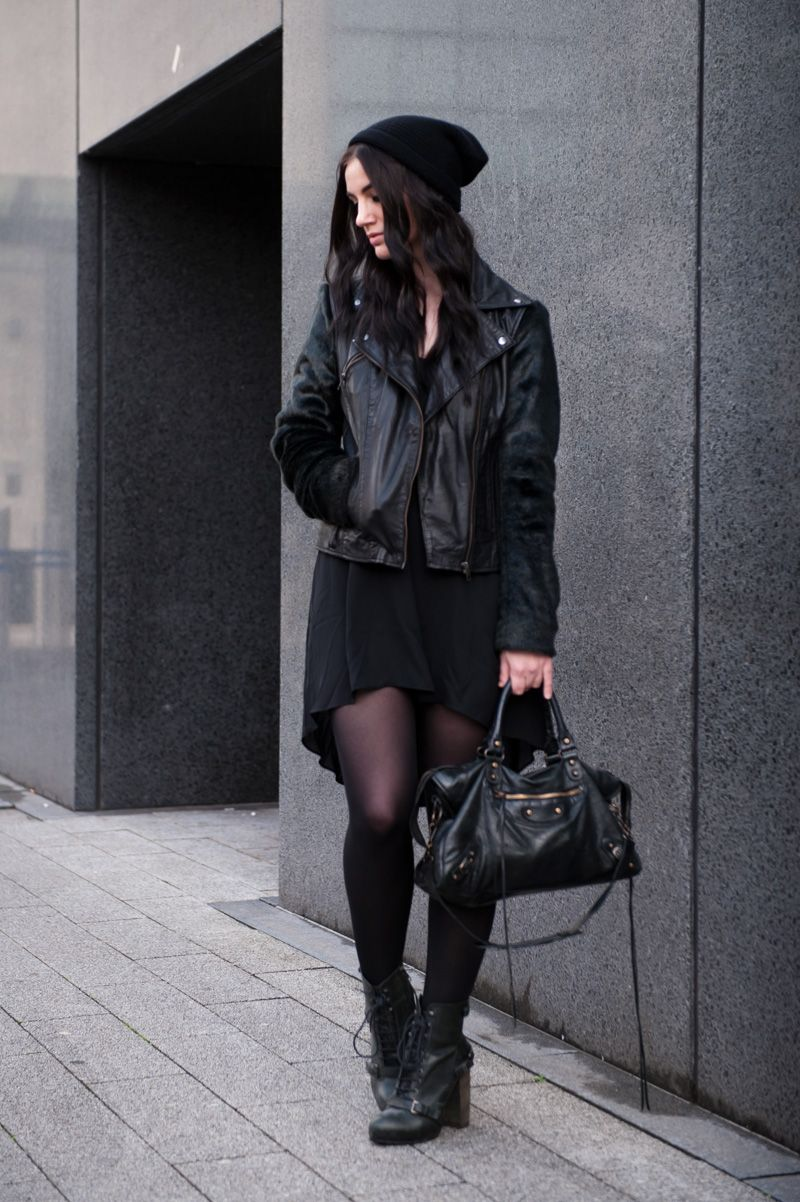 Stephanie of FAIIINT wearing Black.co.uk cashmere slouch beanie, ASOS leather & faux fur biker jacket, MeeMee dip hem dress