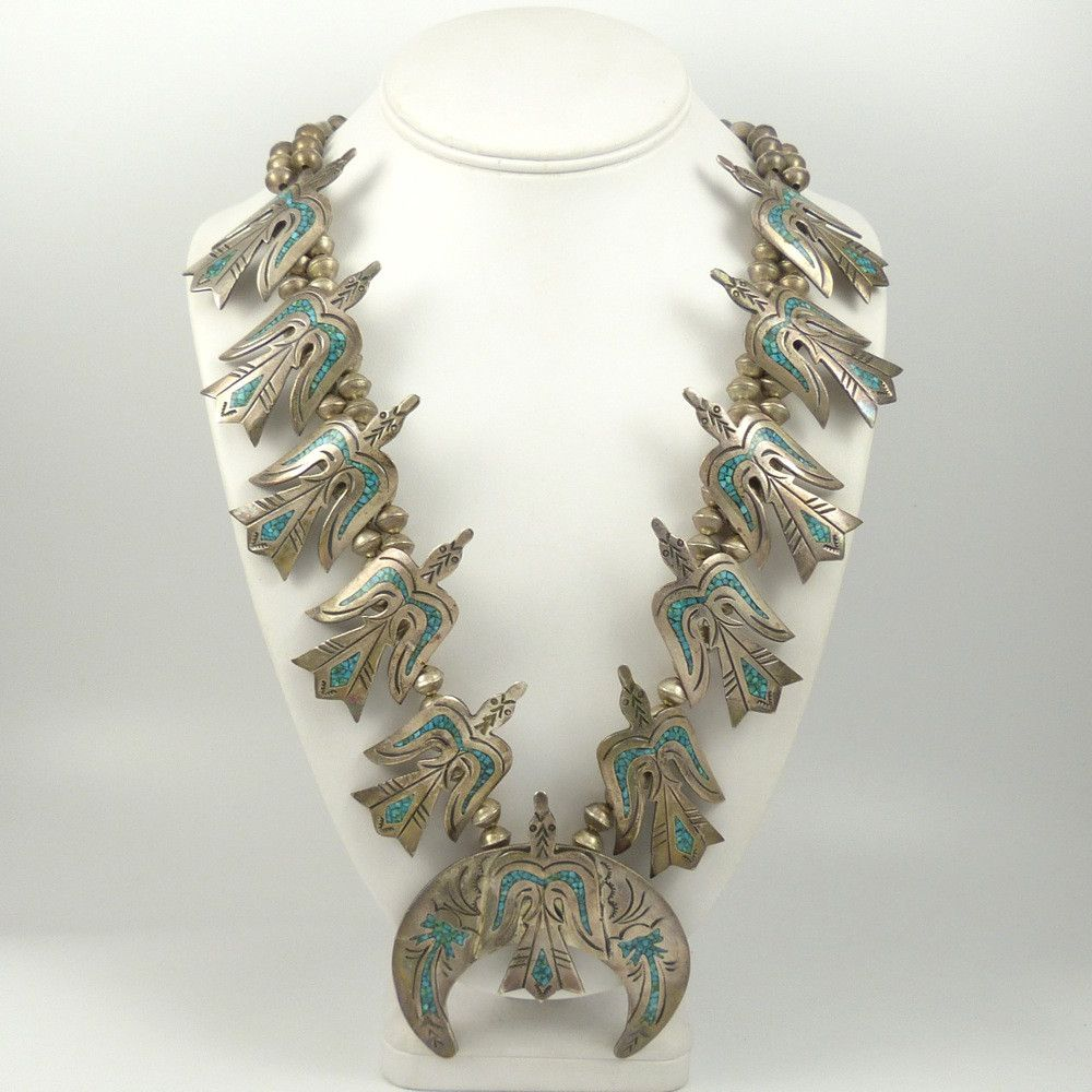 Vintage (1960s) Navajo Sterling Silver Bead Necklace with Silver Peyote Birds with Turquoise Chip Inlay.