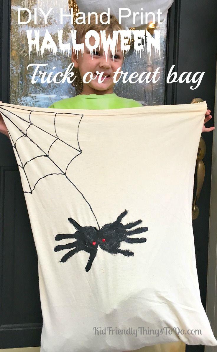 DIY Hand Print Spider Halloween Candy Bag & DIY Hand Print Spider Halloween Candy Bag | Candy bags Loot bags ... pillowsntoast.com