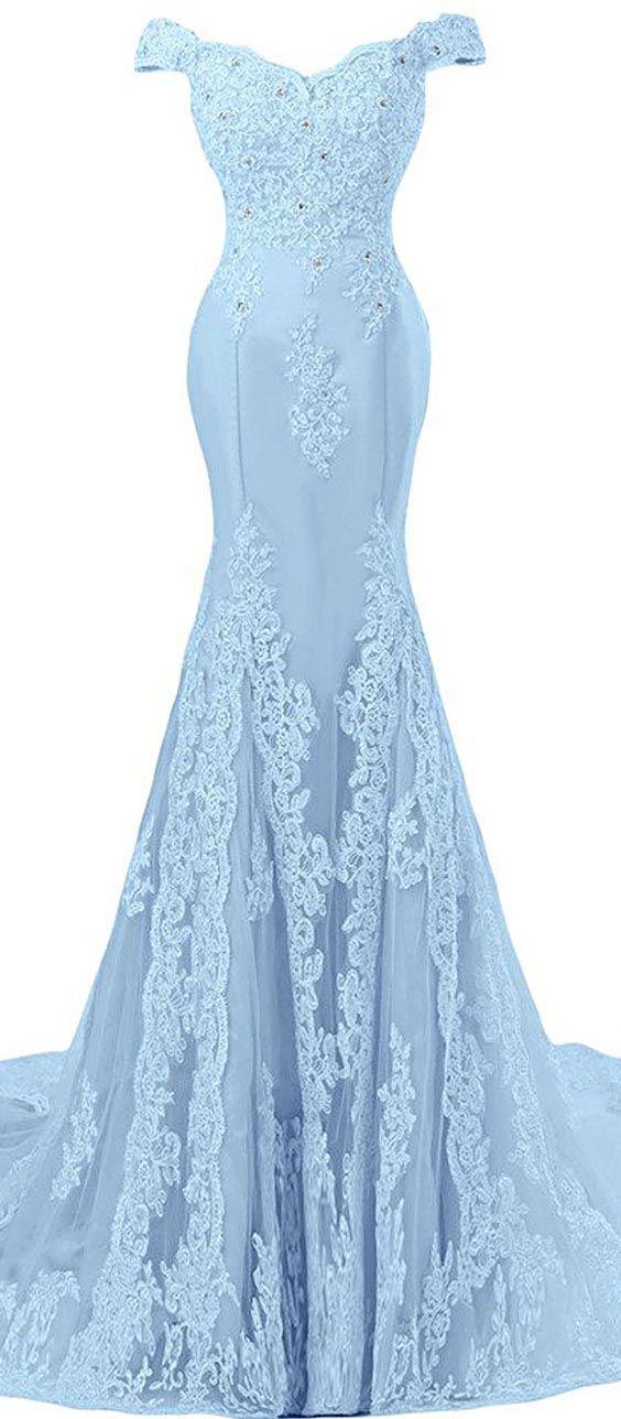 Light Blue Off The Shoulder Lace Appliqués Mermaid Long Prom Dress