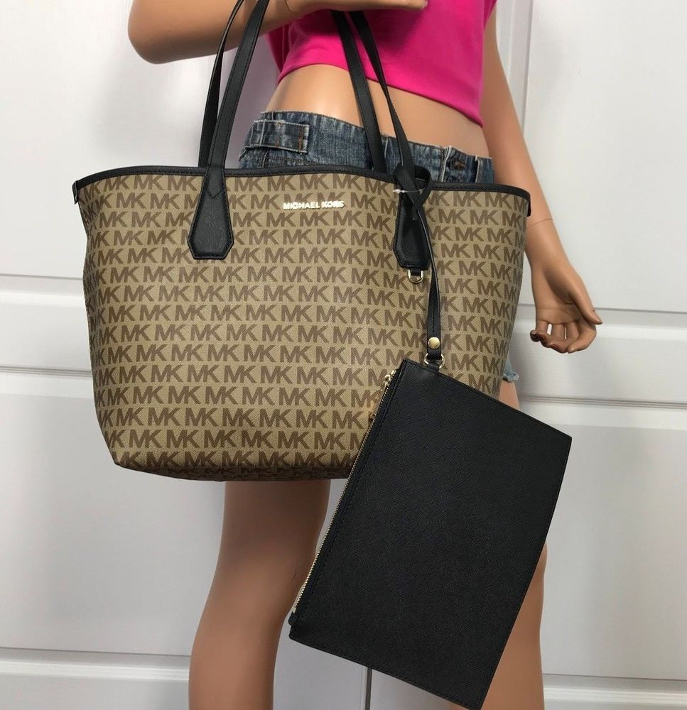 b4f8cac954ef NWT Michael Kors Candy Large Reversible Tote Black Beige MK Signature # MichaelKors #Tote