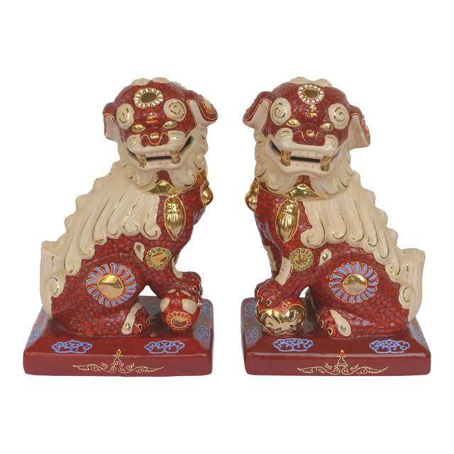 Pair Of Large Chinese Glazed Ceramic Foo Dogs Foo Dogs Pinterest