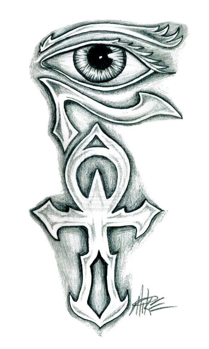 Ankh and horus eye tattoo design upper back tattoo for Cross tattoo under left eye meaning