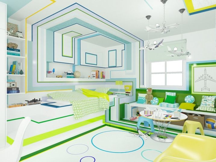 Décoration chambre enfant bleu vert jaune | Décoration chambre ...