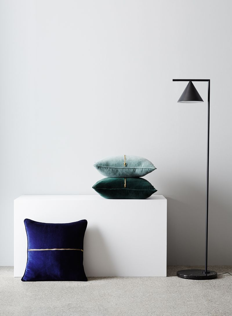 Elwyn Velvet Cushion. Styling Bek Sheppard, Photography Annette O'Brien. Available at onthesly.com.au