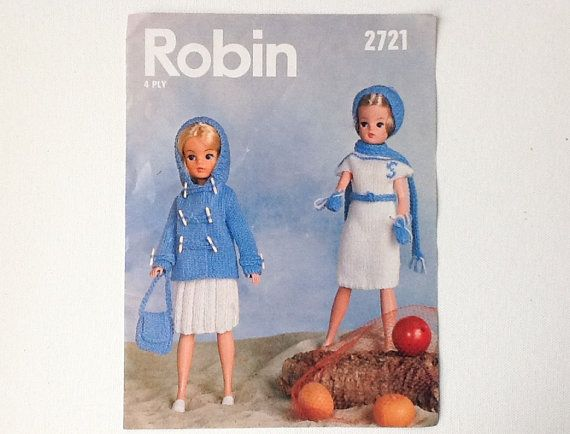 Vintage Sindy Knitting Pattern Robin Pattern 2721 For Sindy Doll