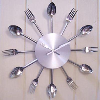 Cutlery Kitchen Clock Your Stylish Stainless Steel Wall Clock Funky Wall Clocks Unusual Clocks Wall Clock