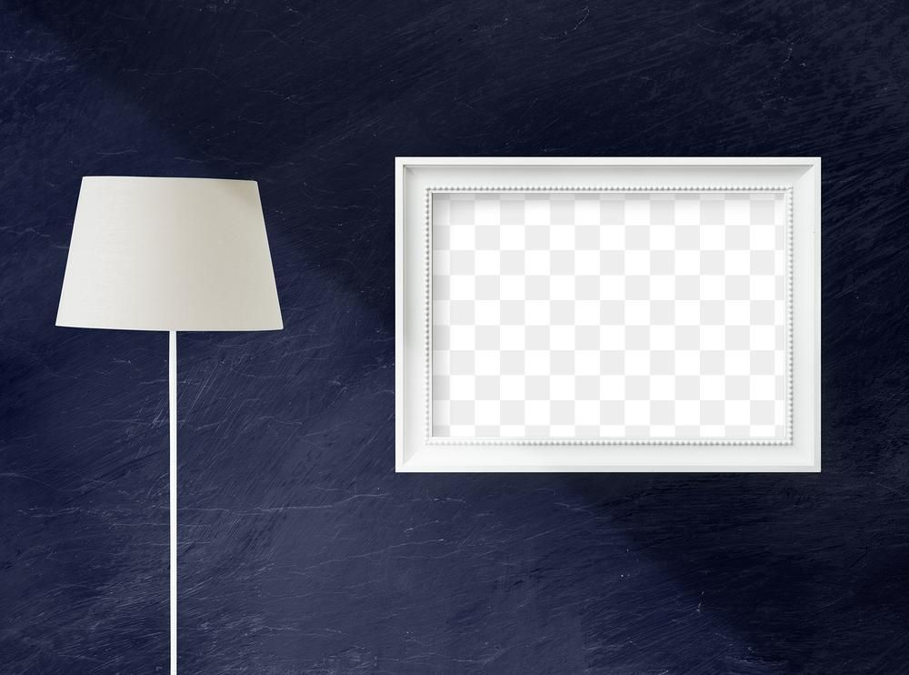 White Lamp By A Blue Wall Hanged With A Blank White Picture Frame Mockup Free Image By Rawpixel Com N In 2020 Frames On Wall Frame Mockup Free White Picture Frames