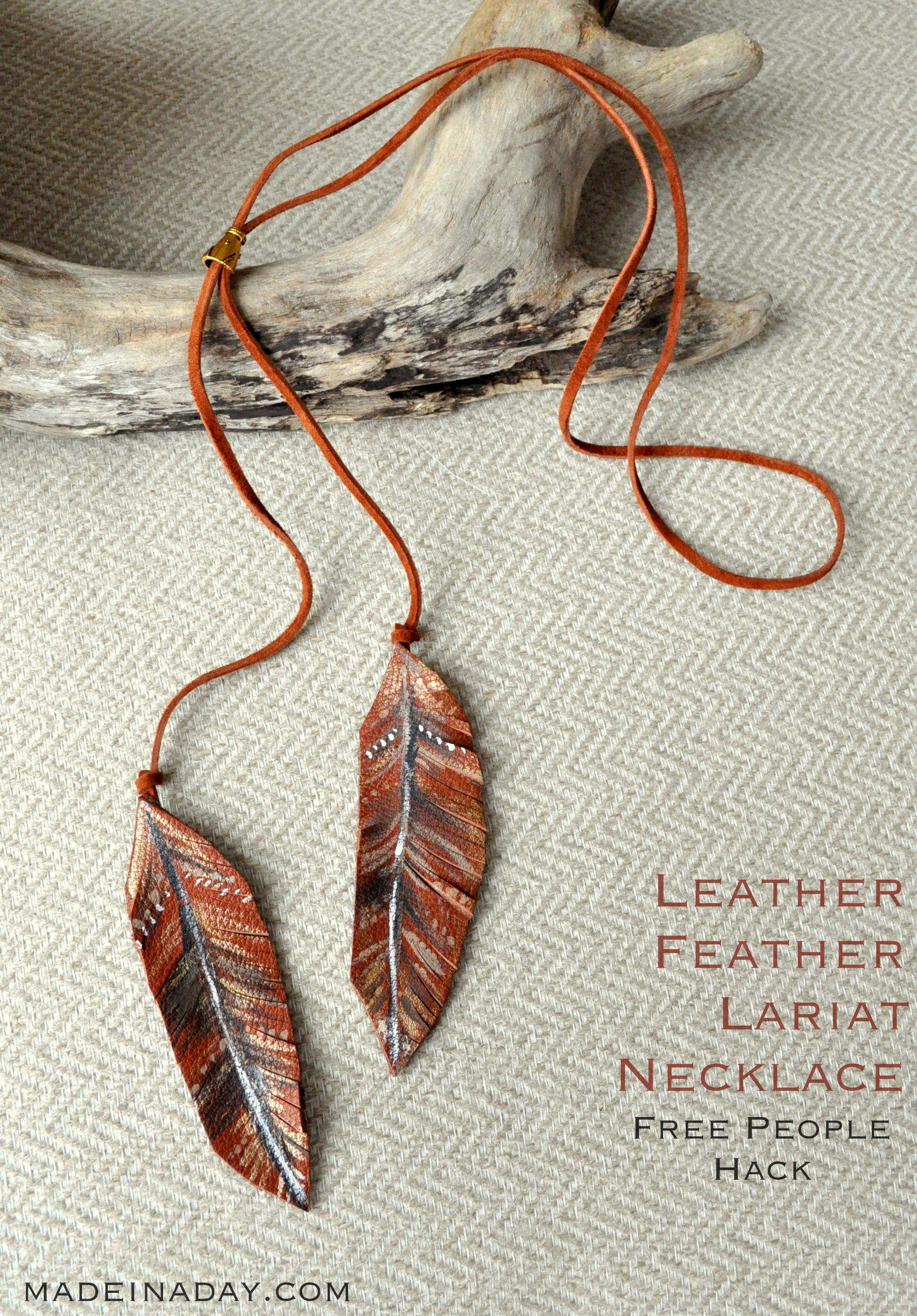 DIY Leather Feather Lariat Necklace + Free Printable Guide ...