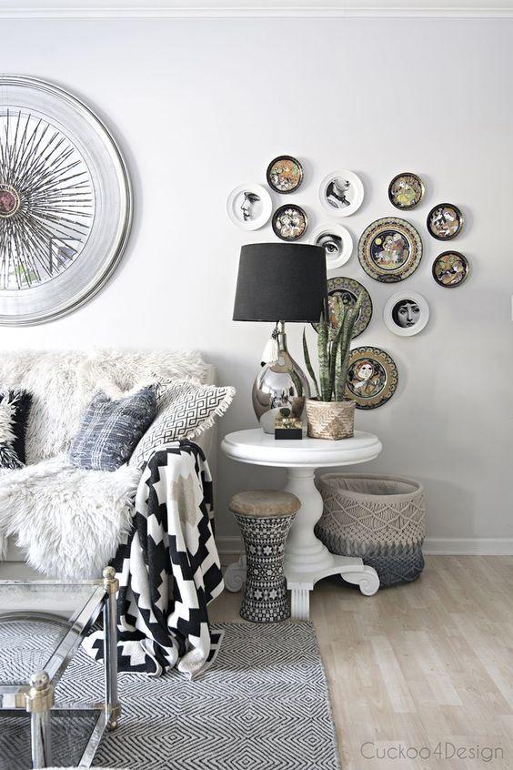 d corer un mur avec des assiettes voici 20 id es. Black Bedroom Furniture Sets. Home Design Ideas
