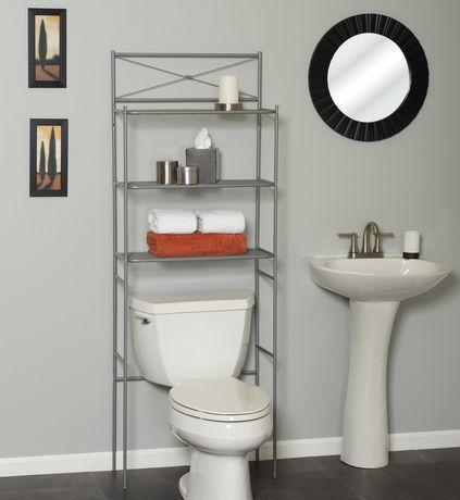 over the toilet bathroom spacesaver shelves storage towel shelf organizer nickle