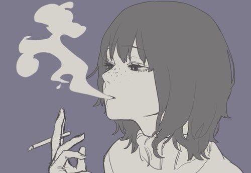 Anime Characters Smoking : Anime smoke and girl image art manga