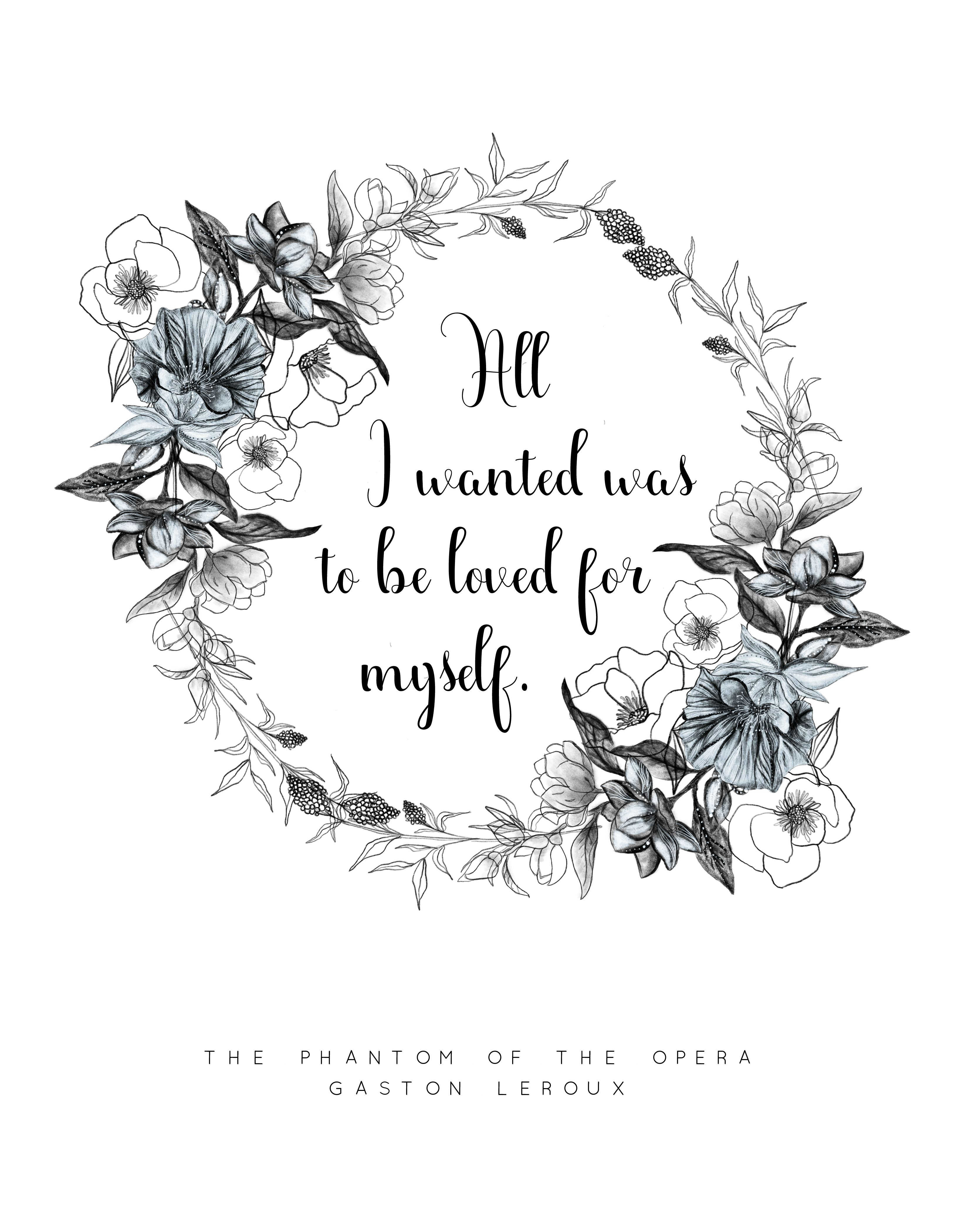 Phantom Of The Opera Book Quote Print Literature Wall Art Floral