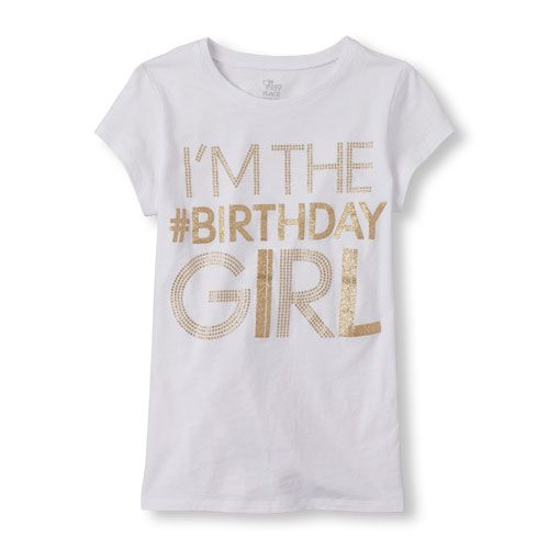 S Short Sleeve Im The Birthday Girl Glitter Graphic Tee