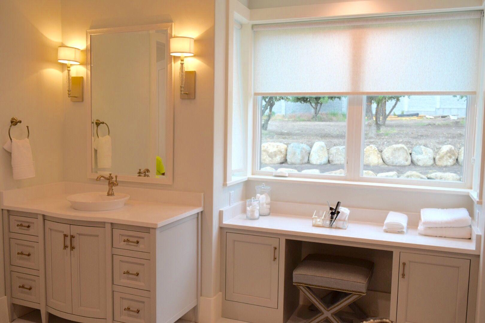 Bathroom Vanity Makeup Area In Front Of Window Bathroom