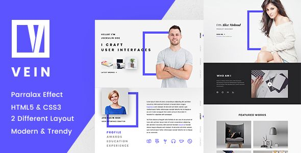 Vein Parallax CV/Resume . Vein is parallax CV/Resume HTML template with a clean, responsive design. Vein is very easy to customize, you can change color, show your portfolio