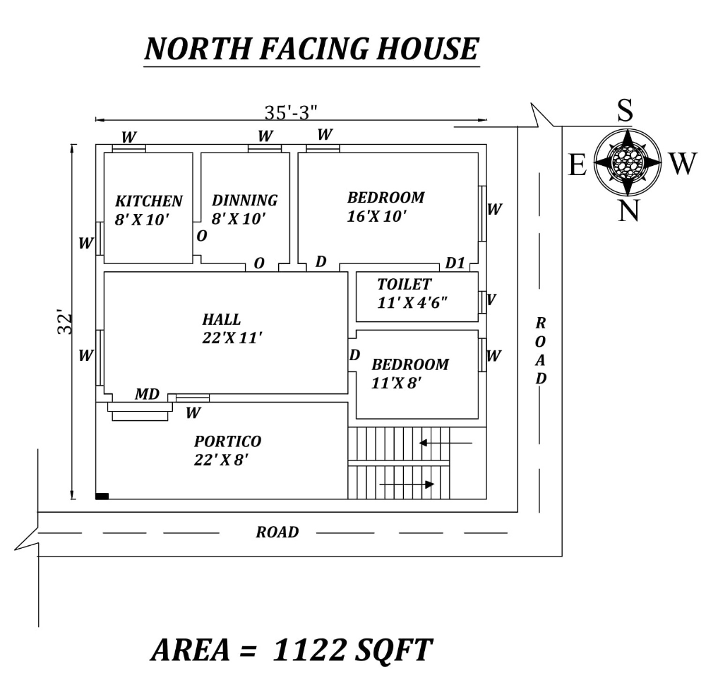 35 X32 Perfect 2bhk North Facing House Plan As Per Vastu Shastra Autocad Dwg And Pdf File Detai North Facing House Indian House Plans Small House Floor Plans