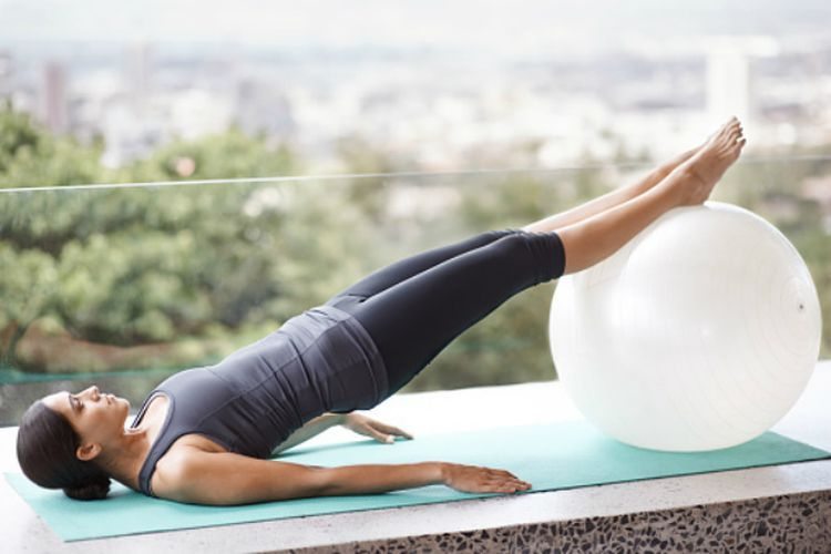 The Versatile Fitness Ball Can Add New Challenge To Pilates Routines Strength Workout Exercise Ball Exercises