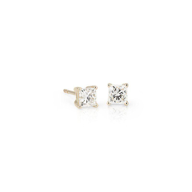 Princess Diamond Stud Earrings 14k Yellow Gold (1 ct. tw.), Women's, Gold Diamond