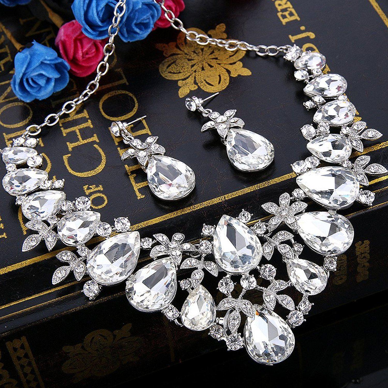 Clearine Women's Bohemian Boho Crystal Flower Teardrop Hollow Statement Necklace Dangle Earrings Set 1rIvjawWqj