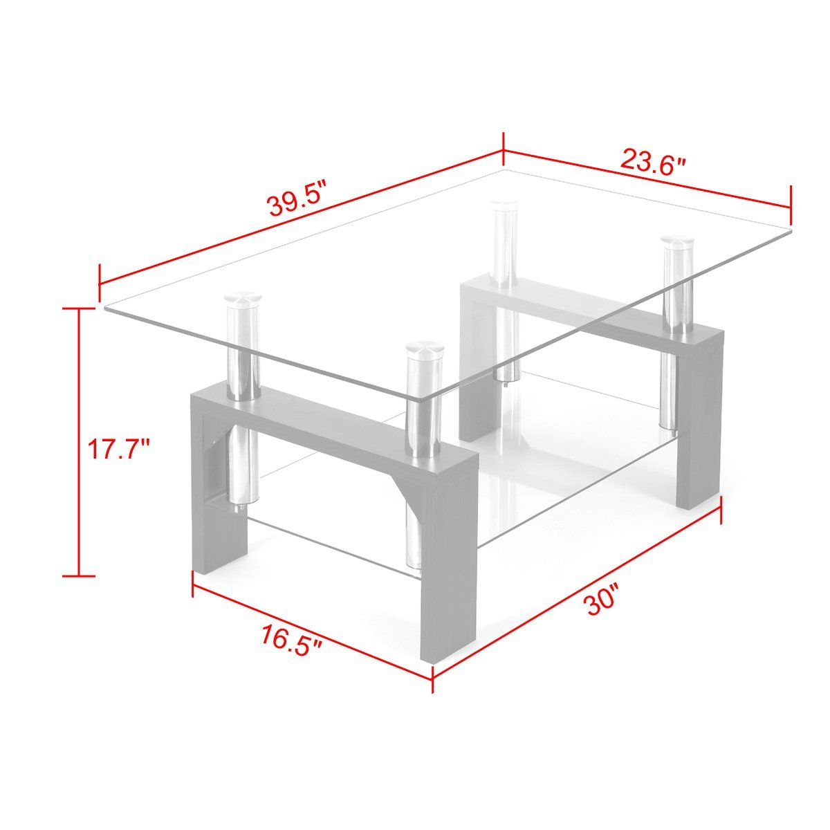 Jaxpety Rectangular Glass Coffee Table Shelf Wood Living Room Furniture Chrome Base Wood Furniture Living Room Living Room Wood Rectangular Glass Coffee Table [ 1200 x 1200 Pixel ]