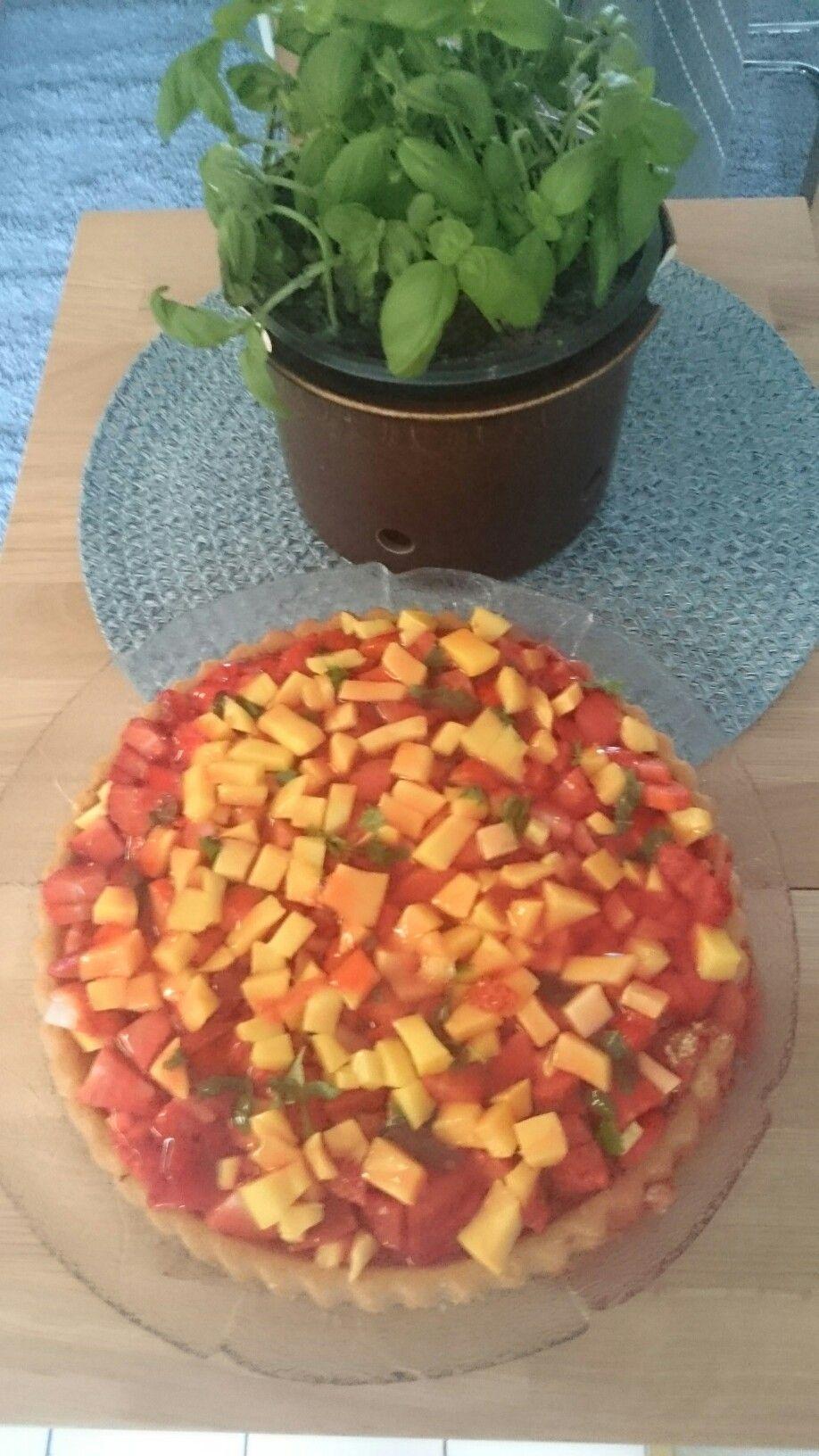 Erdbeer- Mango-Tortenboden  500g Erdbeeren,3/4 Mango in Würfel schneiden,  Tortenboden von Lieken( ideal für saftige Früchte), damit belegen Zitronenmelisse hacken,drüber streuen.  Tortenguss(Erdbeer) kochen daruber geben - fertig