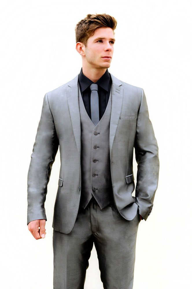 Mj-80 mens 2pc silver grey slim fit suit ideal for weddings/proms ...