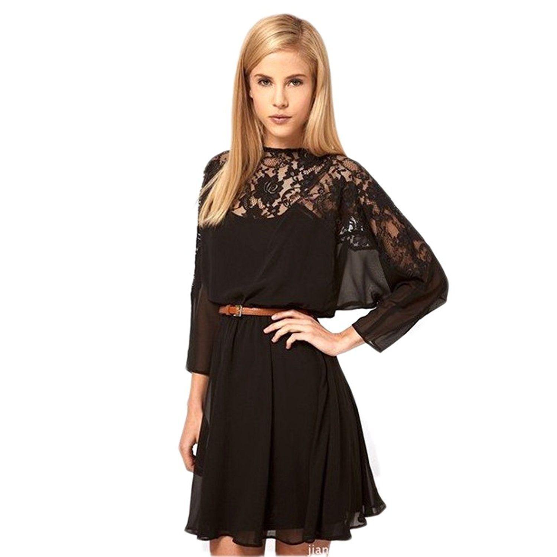 Pg womenus black sexy long sleeve lace chiffon dress sl check