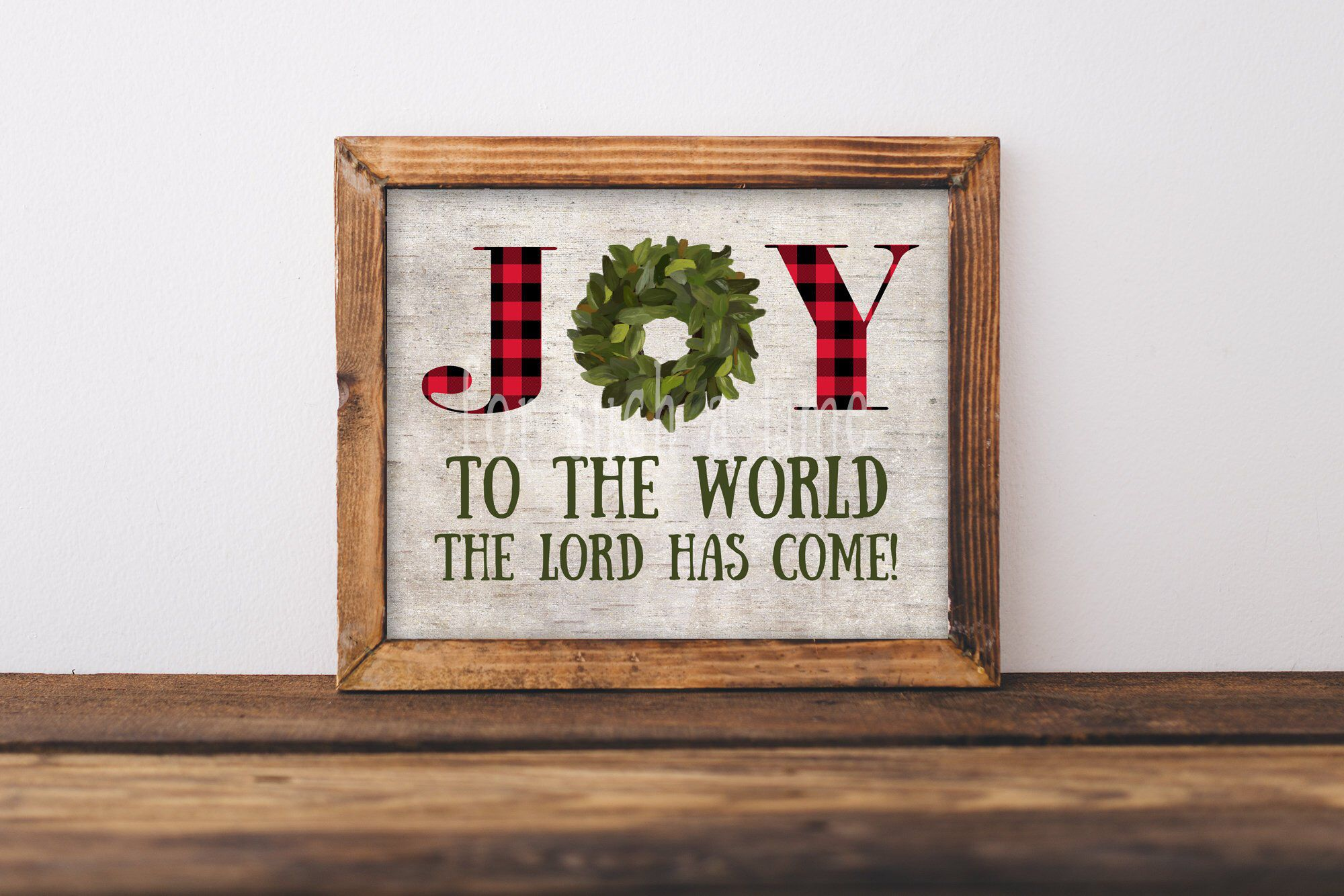 Joy to the World - Farmhouse Christmas Sign - Watercolor Buffalo Plaid - Red and Black Buffalo ...