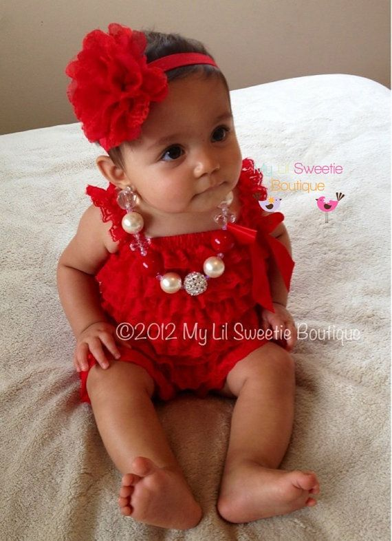 1fe37cbeedec4 Too cute - Red Vintage Lace Petti Romper - Newborn Outfit - Baby ...