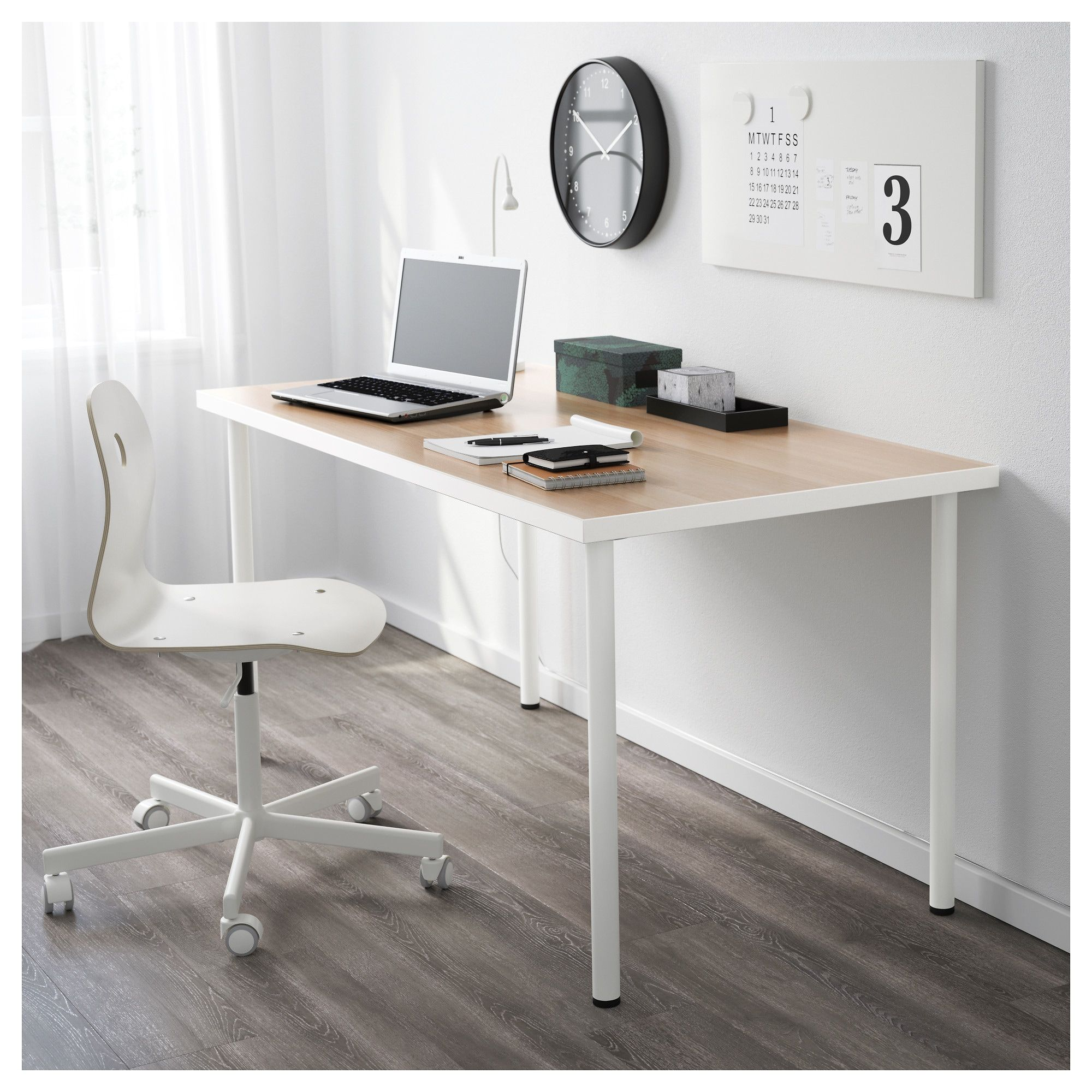 Linnmon Adils Table White White Stained Oak Effect White 59x29 1 2 Ikea Ikea Table Hack Ikea Home Office Furniture