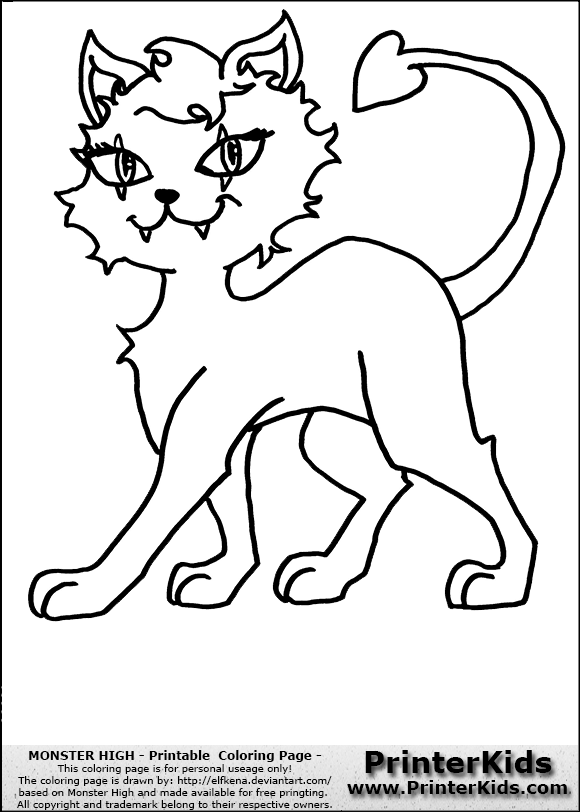 Monster High Crescent Clawdeen Wolfs Pet Coloring Page  Coloring