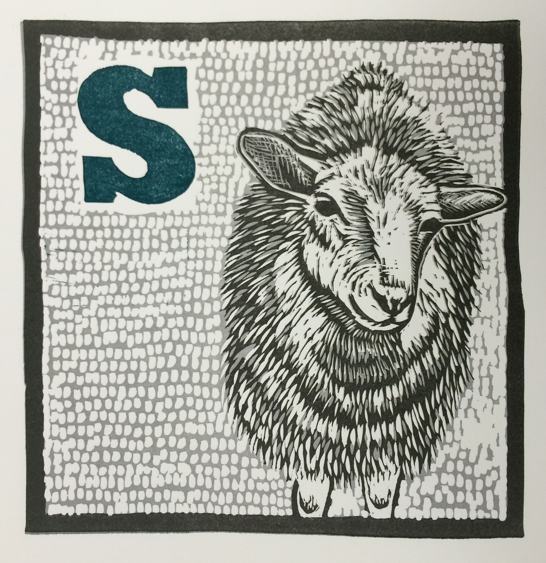 S Is For Sheep 3 Color Reductive Linoleum Block Print On 11x15
