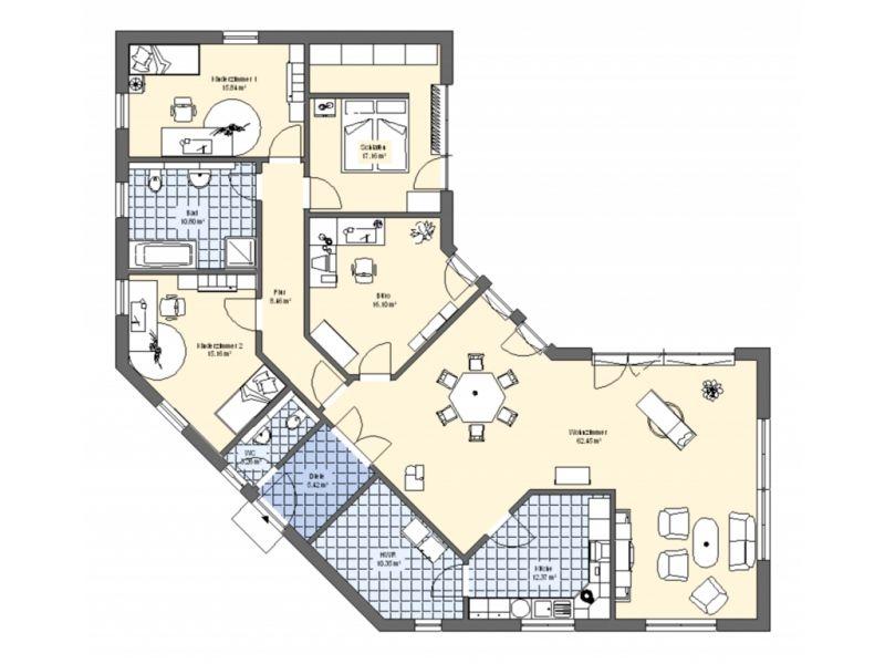 Bungalow 180  Bungalow Fertighaus / Energiesparhaus von Allstav - plan de maison de 100m2 plein pied