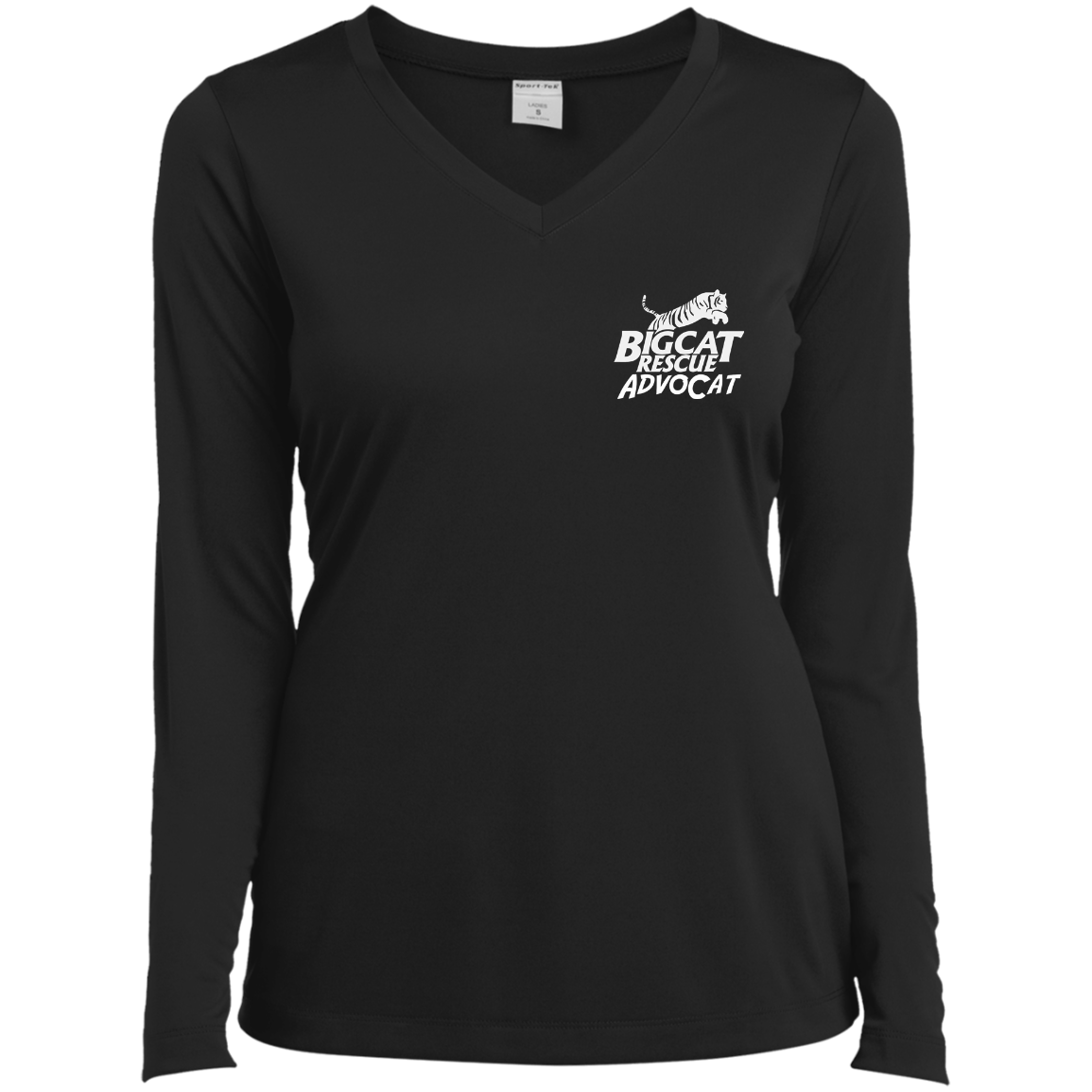 Logo AdvoCat Ladies Long Sleeve Performance Vneck Tee