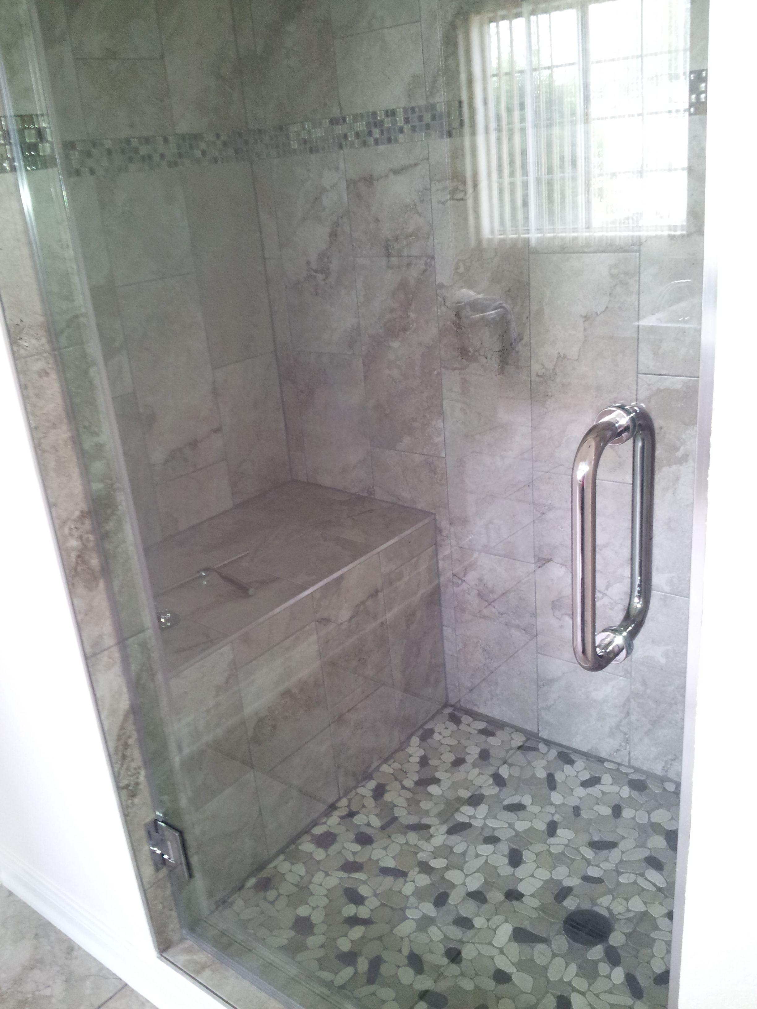 Walk In Shower With Pebble Floor Shower Floor Shower Floor Tile Tile Floor