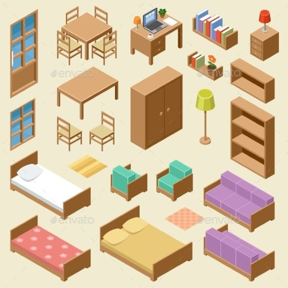 isometric furniture set user journeys and maps