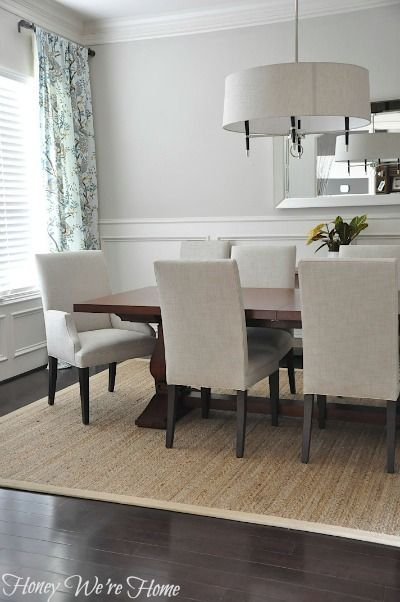 Beautiful and simple dining room from honey we 39 re home - Dining room area rugs ideas ...